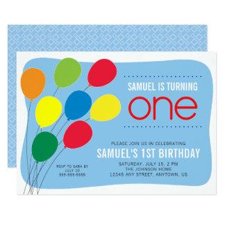 Ă?re fête d'anniversaire de garçons colorés de carton d'invitation  12,7 cm x 17,78 cm