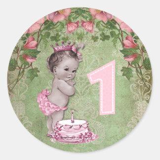 Ă?re fête d'anniversaire de princesse vintage sticker rond