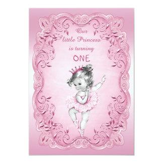 Ă?re fête d'anniversaire vintage rose de princesse carton d'invitation  12,7 cm x 17,78 cm