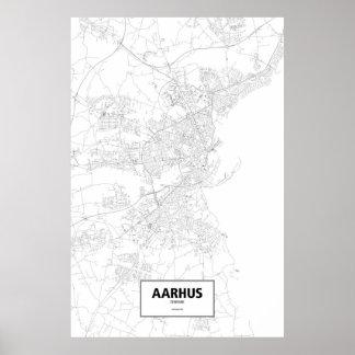 Aarhus, Dänemark (Schwarzes auf Weiß) Poster