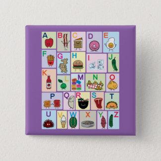 ABC-Alphabet, das Buchstaben glücklichen Quadratischer Button 5,1 Cm