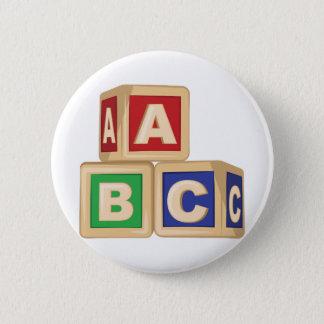 ABC-Blöcke Runder Button 5,7 Cm