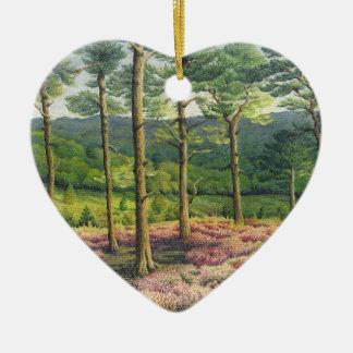 Abend Sun, Surrey-Hügel-Kiefern im Pastell Keramik Herz-Ornament