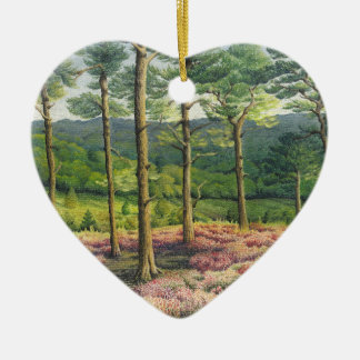 Abend Sun, Surrey-Hügel-Kiefern-Pastellmutter-Tag Keramik Herz-Ornament