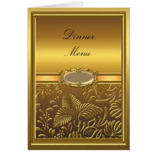 Abendessen-Menü-Karten-Golddamast mit Blumen Mitteilungskarte