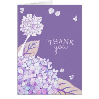 Abends-Gartenhydrangeas-Geschäft danken Ihnen Mitteilungskarte