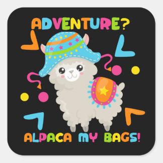 Abenteuer-Alpaka mein Taschen-niedliches lustiges Quadratischer Aufkleber