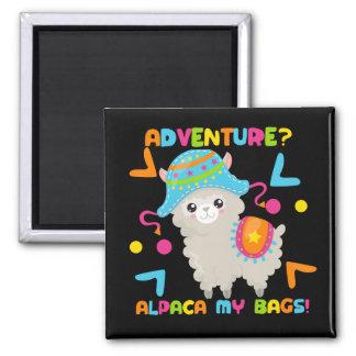 Abenteuer-Alpaka mein Taschen-niedliches lustiges Quadratischer Magnet