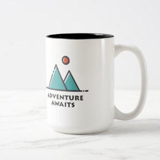 Abenteuer erwartet Zweiton Kaffee-Tasse Zweifarbige Tasse