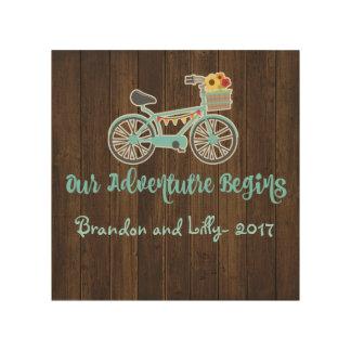 Abenteuer fängt Fahrrad an Holzwanddeko