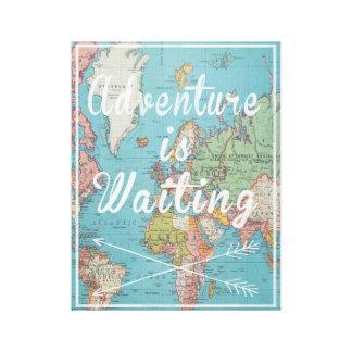 Abenteuer ist wartete Vintage Weltkarten-Leinwand Leinwanddruck