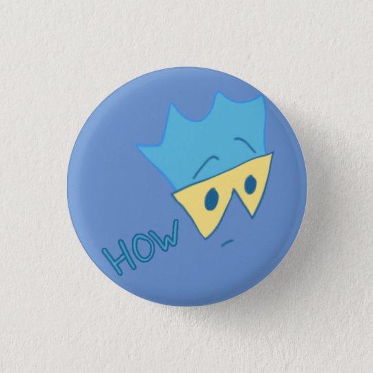 Aber, wie Knopf (cyan-blau auf Singrün) Runder Button 3,2 Cm