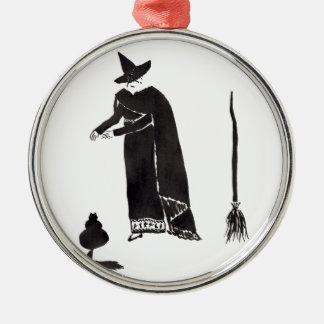 Abgelenkte Hexe Rundes Silberfarbenes Ornament
