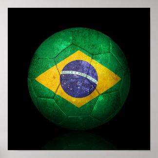Abgenutzter brasilianischer Flaggen-Fußball-Fußbal Poster