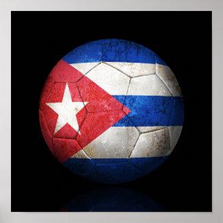 Abgenutzter kubanischer Flaggen-Fußball-Fußball Poster