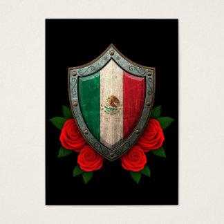 Abgenutztes mexikanische Flaggen-Schild mit Roten Visitenkarte