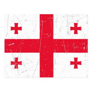 Abgeriebene und verkratzte georgische Flagge Postkarte