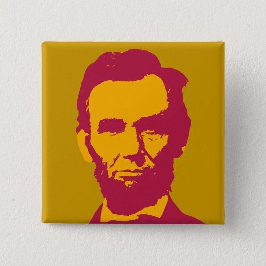 Abraham Lincoln in Orange u. in Rotem Quadratischer Button 5,1 Cm
