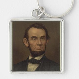 Abraham Lincoln-Porträt Keychain Silberfarbener Quadratischer Schlüsselanhänger
