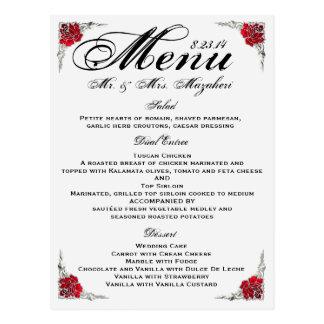 ABSCHLIESSENDES Hochzeits-Abendessen-Menü Shalicia Postkarte