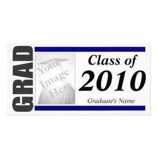 Abschluss-Einladungs-Foto-Karte - Blau Fotokarten