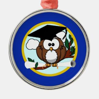Abschluss-Eule mit Kappe u. Diplom - Blau und Gold Silbernes Ornament