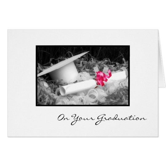 Abschluss-Glückwunsch-Diplom-Rosa-Band Karte