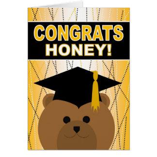 Abschluss-Glückwunsch-Honig/Schatz Grußkarte