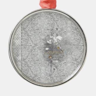 Abschluss-Glückwunsch, Kappe, Diplom, Herzen, Silbernes Ornament