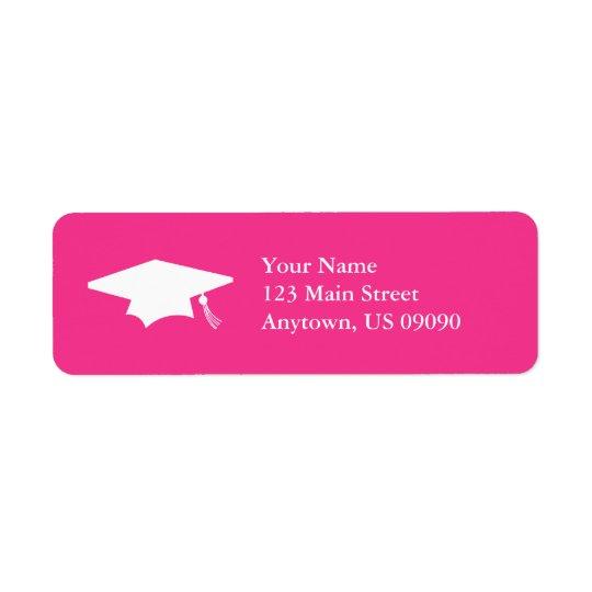 Abschluss-Kappe (dunkles Rosa) Rückversand-Adressaufkleber