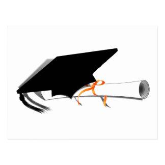 Abschluss-Kappe mit Diplom Postkarte