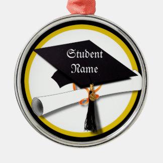 Abschluss-Kappe mit Diplom-und Goldkreis Silbernes Ornament