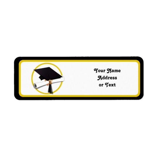 Abschluss-Kappe u. Diplom Rücksende Aufkleber