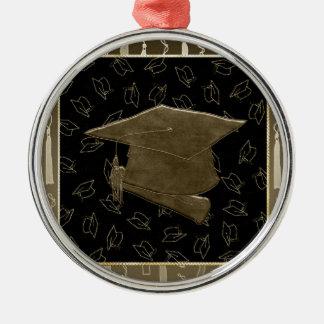 Abschluss-Kappe und Diplom-Mausunterlage, Brown, Silbernes Ornament