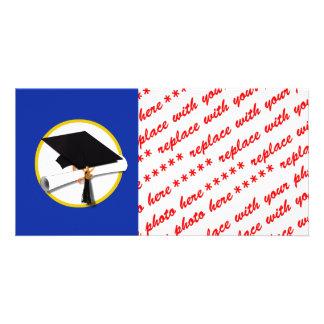 Abschluss-Kappe w/Diploma - dunkelblauer Bilderkarte