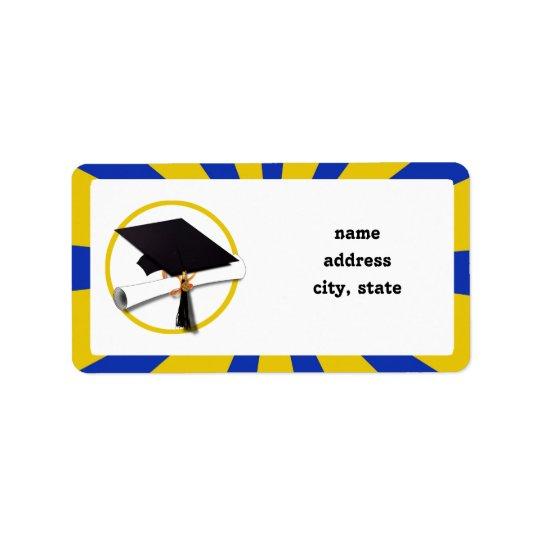 Abschluss-Kappe w/Diploma - Gold u. Blau Adressetikett