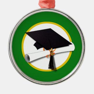 Abschluss-Kappe w/Diploma - grüner Hintergrund Silbernes Ornament