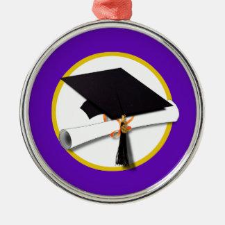 Abschluss-Kappe w/Diploma - lila Hintergrund Silbernes Ornament