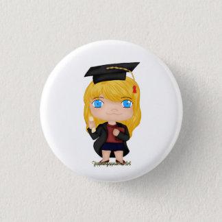 Abschluss-Mädchen-Blondine (b) Runder Button 3,2 Cm