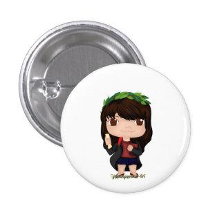 Abschluss-Mädchen Brown (a) Runder Button 2,5 Cm