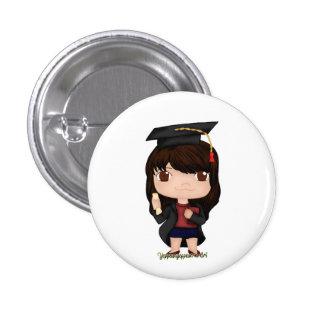 Abschluss-Mädchen Brown (b) Runder Button 3,2 Cm