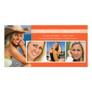 Abschluss-Mitteilungs-Foto kardiert | Orange Fotokarten