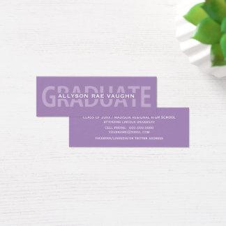 Abschluss-Namenskarten-lila mutige Beschriftung Mini Visitenkarte