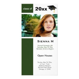 Abschluss-offenes Haus (dunkelgrün) Fotokarten