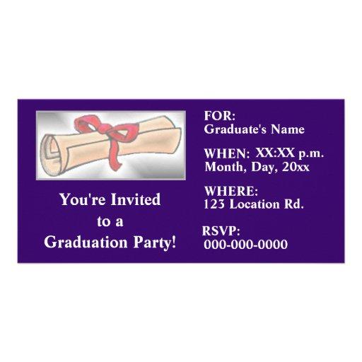 Abschluss-Party Einladungen Fotokartenvorlagen