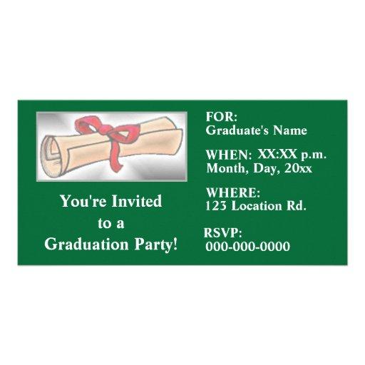 Abschluss-Party Einladungen - Grün Individuelle Foto Karten