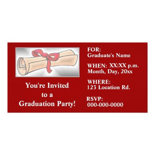 Abschluss-Party Einladungen - Rot Fotokarten