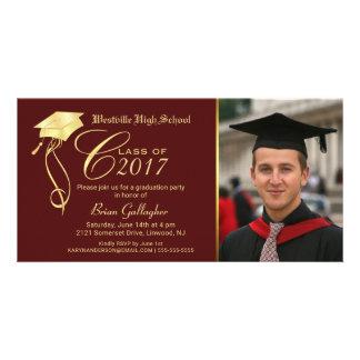 Abschluss-Party-Foto-Einladungs-Granat u. Gold Foto Karten