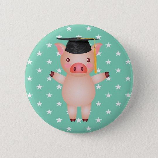 Abschluss-Schwein und Sterne Runder Button 5,1 Cm