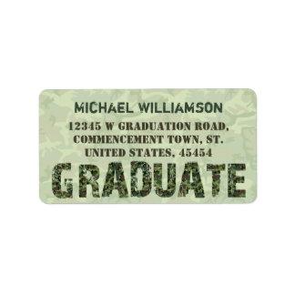 Abschluss-Tarnungs-Absolvent-Text-Grün-Camouflage Adressaufkleber